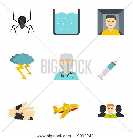 Phobia symbols icon set. Flat style set of 9 phobia symbols vector icons for web isolated on white background