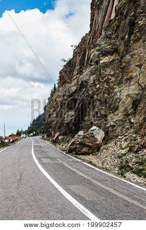 Famous and dangerous Transfagarasan road on the height in Fagaras mountains at Carpathians Romania.