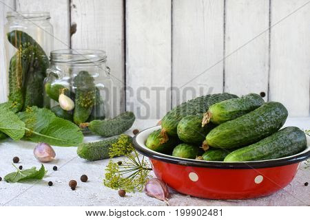 Preservation Of Pickling Cucumber. Preparation Of Conservation From Organic Vegetables On A Light Ba