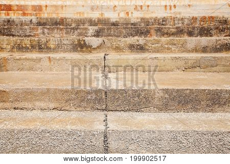 Abstract Concrete Stairs To Building Background. Cement Dirty Grunge Staircase.