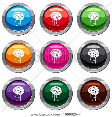 Sensors on human brain set icon isolated on white. 9 icon collection vector illustration