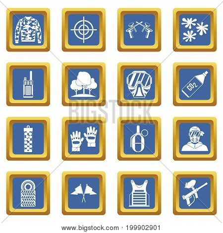 Paintball icons set in blue color isolated vector illustration for web and any design