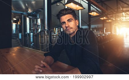 Male Manufacturer Sitting At Table In Microbrewery