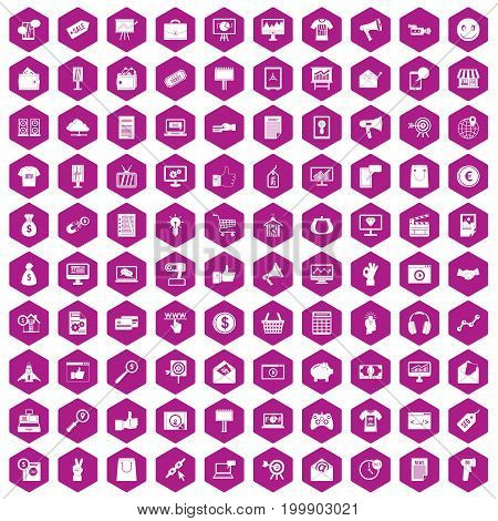 100 internet marketing icons set in violet hexagon isolated vector illustration