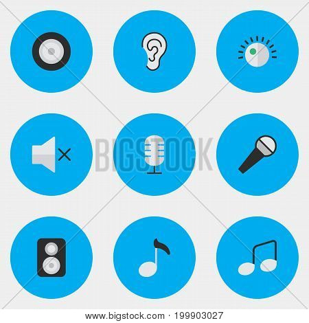 Elements Loudspeaker, Volume, Mike And Other Synonyms Listen, Regulator And Ear.  Vector Illustration Set Of Simple Music Icons.