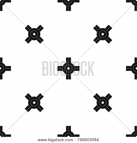 Big road junction pattern repeat seamless in black color for any design. Vector geometric illustration