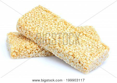 Bar sesame seeds.Isolated sweets on a white background.