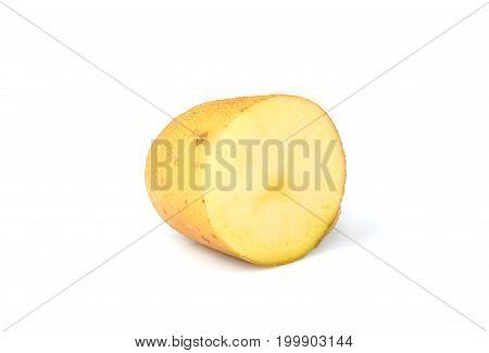 Half of the potato closeup isolated on white background.