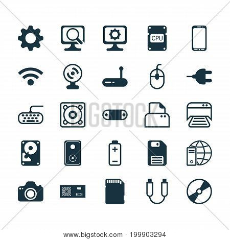 Computer Icons Set. Collection Of Internet Network, Connector, Laptop And Other Elements