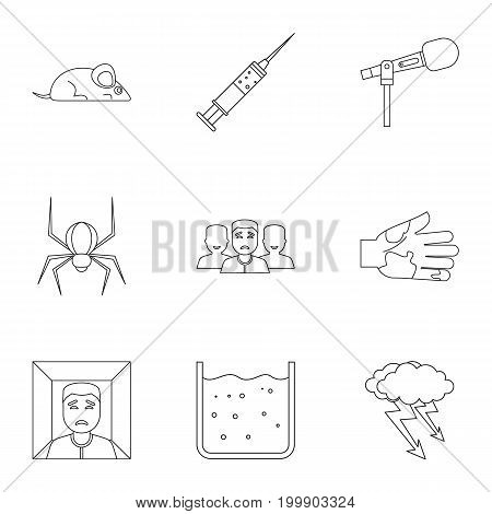 Various phobias icon set. Outline style set of 9 various phobias vector icons for web isolated on white background
