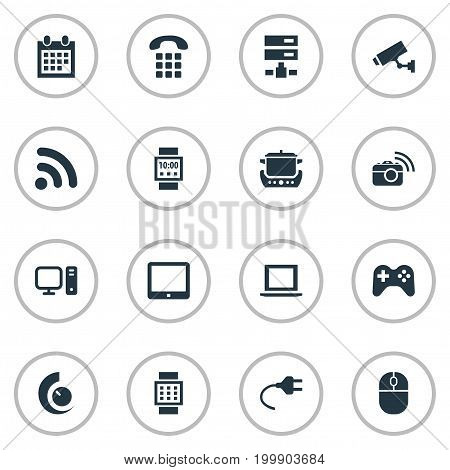 Elements Datacenter, Surveillance, Smart Watch And Other Synonyms Datacenter, Cctv And Smart.  Vector Illustration Set Of Simple Smart Icons.