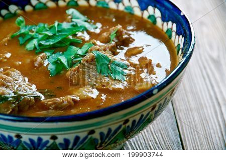 Rara Gosht Roasted Mutton Curry.Pakistani cuisine close up  traditional meal