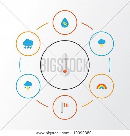 Climate Flat Icons Set. Collection Of Banner, The Flash, Lightning And Other Elements