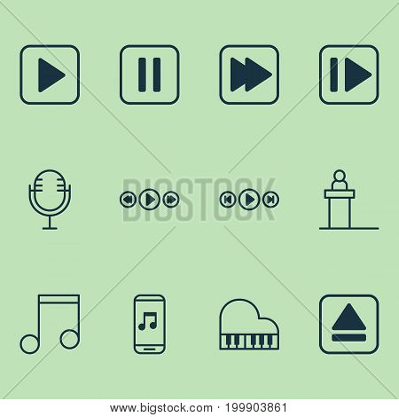 Multimedia Icons Set. Collection Of Mike, Extract Device, Audio Buttons And Other Elements