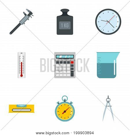 Measure tools icon set. Flat style set of 9 measure tools vector icons for web isolated on white background