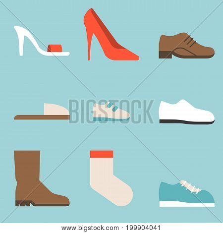 type of shoes collection icon, women's shoes such as high heels and sandal, boots, men's shoes, children and baby, sneakers, slipper, socks, suitable for use in department store, flat design icon