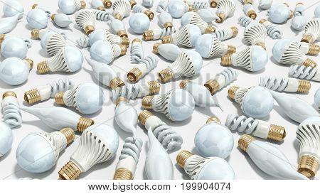 Different Lighting Bulbs Set 3D Render On White Background