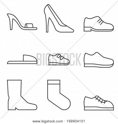 type of shoes collection icon, women's shoes such as high heels and sandal, boots, men's shoes, children and baby, sneakers, slipper, socks, suitable for use in department store, outline icon
