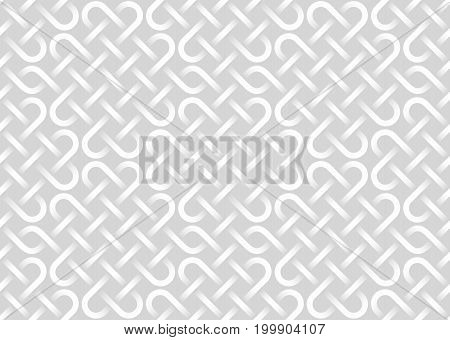 Vector Seamless Pattern Of Interweaving Bands. White Texture.