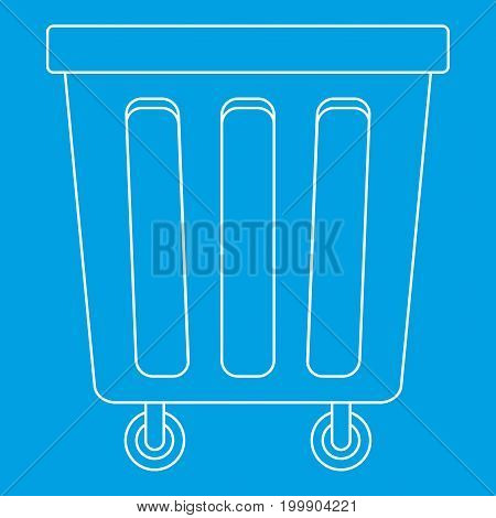 Outdoor trash bin with wheels icon blue outline style isolated vector illustration. Thin line sign