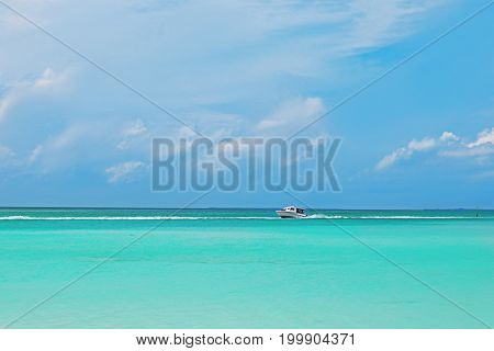 Beautiful seascape with modern boat at resort