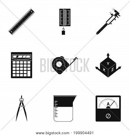Measurement icon set. Simple style set of 9 measurement vector icons for web isolated on white background