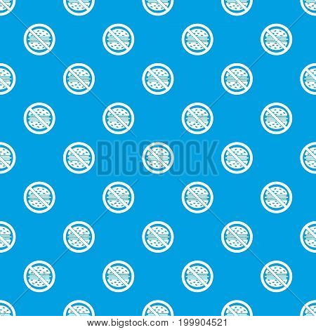 Stop fast food pattern repeat seamless in blue color for any design. Vector geometric illustration