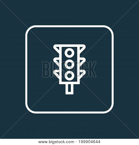 Premium Quality Isolated Traffic Light Element In Trendy Style.  Stoplight Outline Symbol.