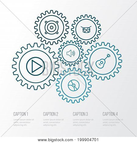 Multimedia Outline Icons Set. Collection Of Audio Level, Orator, Plastic And Other Elements