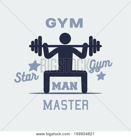 weightlifter man icon, vector persone sign logo.