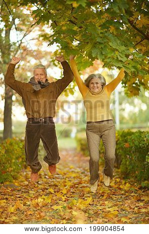 Happy senior couple jumping  in autumn park