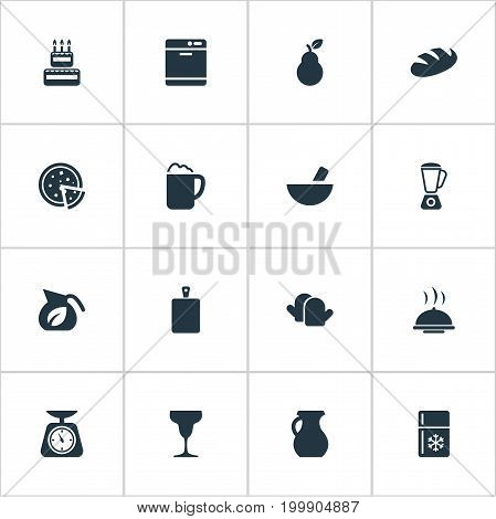 Elements Bartlett, Cake, Dishware Washer And Other Synonyms Refrigerator, Cutting And Dish.  Vector Illustration Set Of Simple Kitchen Icons.