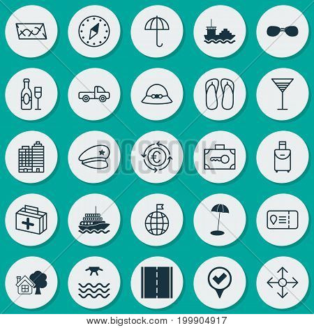 Tourism Icons Set. Collection Of Sunrise, Checked Pointer, Route And Other Elements