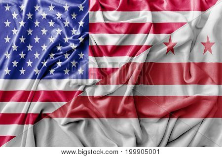 Ruffled waving United States of America and Distric of Columbia flag