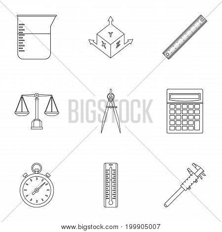 Measure instrumentation icon set. Outline style set of 9 measure instrumentation vector icons for web isolated on white background