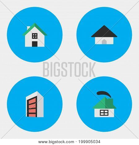 Elements Dwelling, Home, Base And Other Synonyms Building, House And Construction.  Vector Illustration Set Of Simple Real Icons.