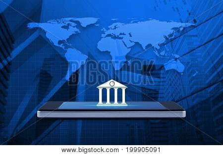 Bank icon on modern smart phone screen over world map and office city tower Mobile banking concept Elements of this image furnished by NASA