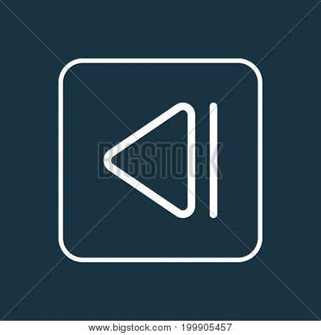 Premium Quality Isolated Previous Element In Trendy Style.  Slow Backward Outline Symbol.