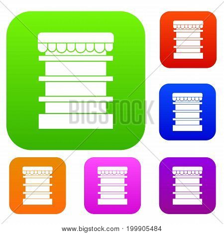 Empty supermarket refrigerator set icon in different colors isolated vector illustration. Premium collection