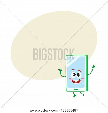 Funny cartoon mobile phone, smartphone character raising hands in awe and delight, vector illustration with space for text. Excited cartoon mobile phone, smartphone character looking up