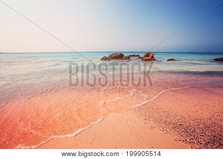 Amazing Elafonissi Beach on Crete Greece. Pink Sand Blue Water