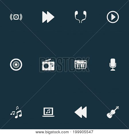 Elements Broadcast, Start, Forward And Other Synonyms Broadcast, Notes And Electronic.  Vector Illustration Set Of Simple Music Icons.