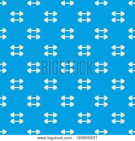 Two dumbbells pattern repeat seamless in blue color for any design. Vector geometric illustration