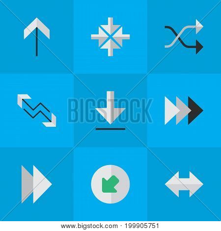 Elements Up, Loading, Everyway And Other Synonyms Direction, Up And Next.  Vector Illustration Set Of Simple Pointer Icons.