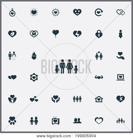 Elements Romance, Flash, Heart Lock And Other Synonyms Ecology, Couple And Moth.  Vector Illustration Set Of Simple Wedding Icons.