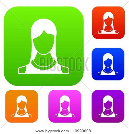 Woman set icon in different colors isolated vector illustration. Premium collection