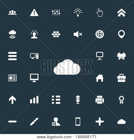 Elements Pointer, Winner, Upwards And Other Synonyms Bar, Bricks And Brush.  Vector Illustration Set Of Simple Interface Icons.