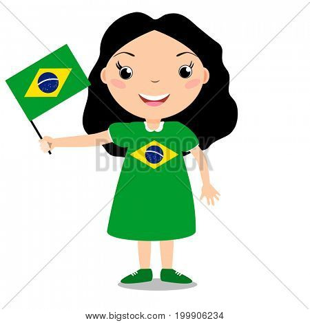 Smiling chilld, girl, holding a Brazil flag isolated on white background. Cartoon mascot. Holiday illustration to the Day of the country, Independence Day, Flag Day.