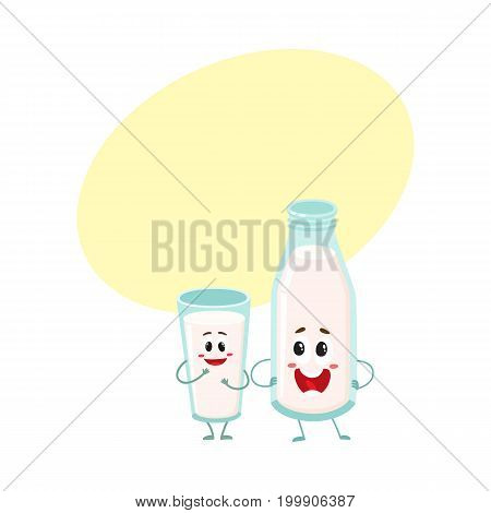 Funny cow milk bottle and glass characters with smiling human faces, cartoon vector illustration with space for text. Cute and funny milk bottle and milk glass characters, dairy products