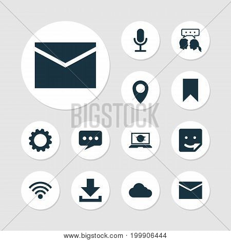Internet Icons Set. Collection Of Wireless Connection, Video Chat, Flag And Other Elements